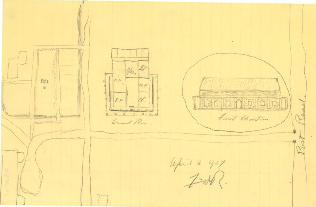 Franklin D. Roosevelt's original pencil sketch of the FDR Library