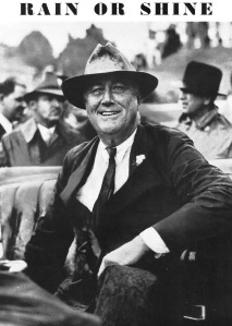 """Rain or Shine"" - FDR enroute to Municipal Stadium, Charlotte, North Carolina to make his ""Green Pastures"" address, September 10, 1936."
