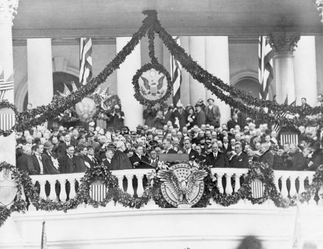 President Roosevelt taking the oath of office at his first Inauguration.  March 4, 1933.