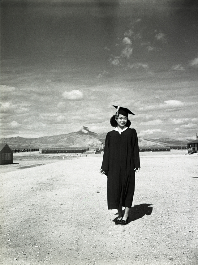 Ayako Matsushita on her graduation day from Heart Mountain High School. Before the war she attended Marshall High School in Los Angeles. Frank Hirahara 1944