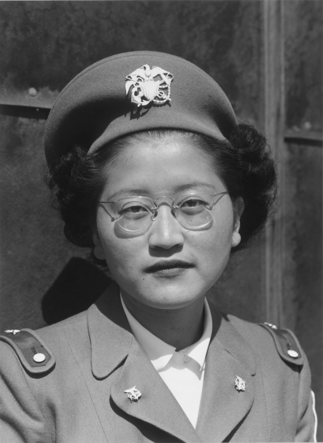 Kay Fukoda, who was incarcerated at the Manzanar camp in California, volunteered to serve in the U.S. Army Nurse Corps. Ansel Adams 1943