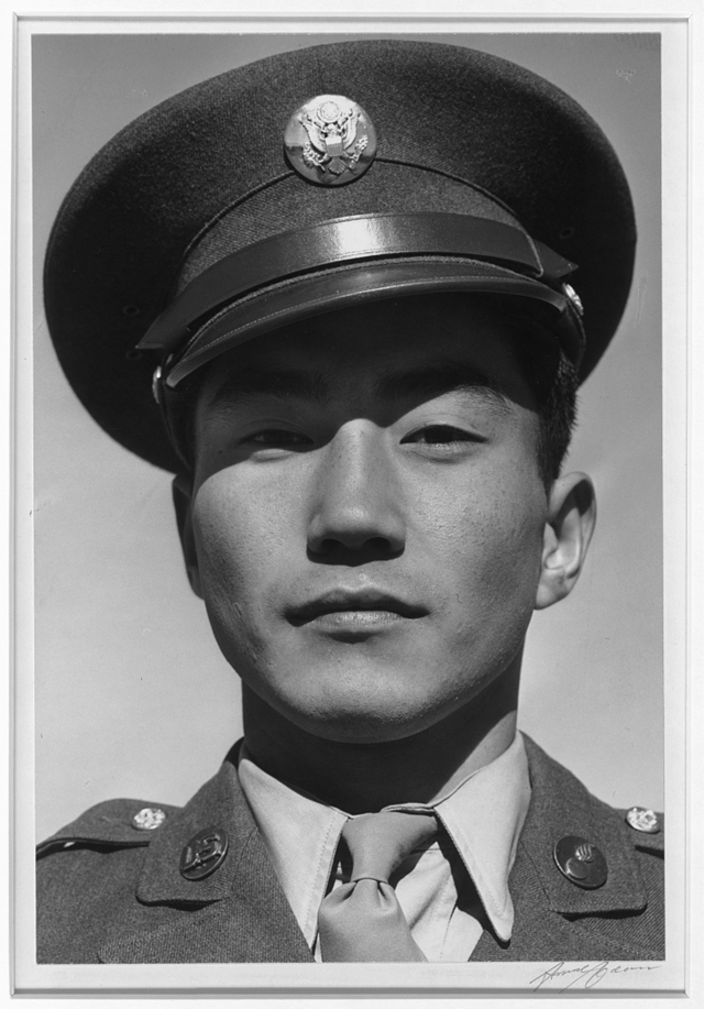 U.S. Army Corporal Jimmie Shohara, formerly of the Manzanar Relocation Center in California. Ansel Adams 1943